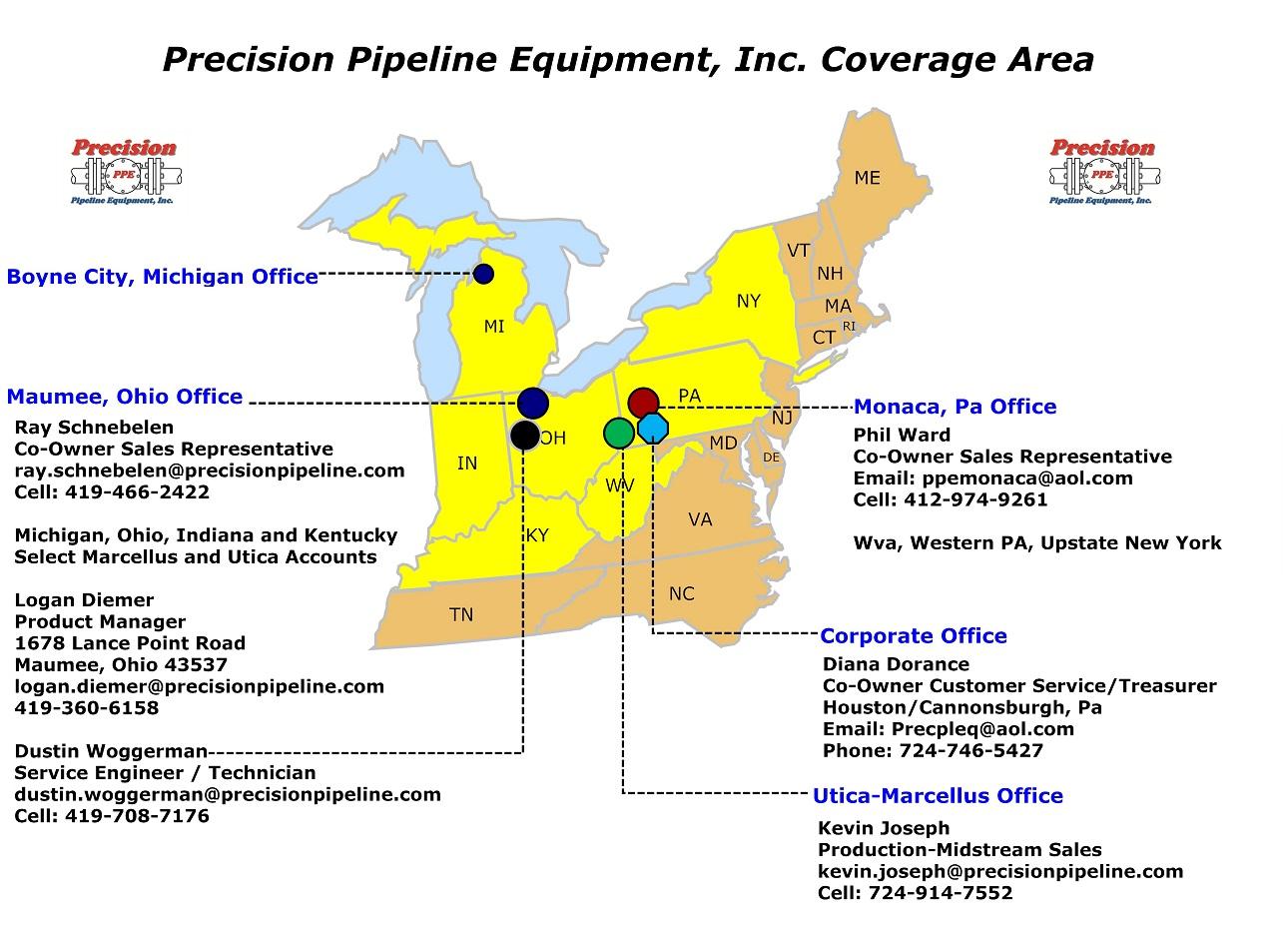 Territory Map | Precision Pipeline Equipment, Inc